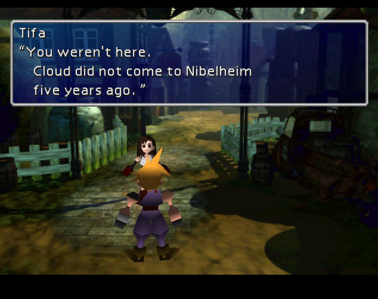 Tifa correcting Cloud's memories